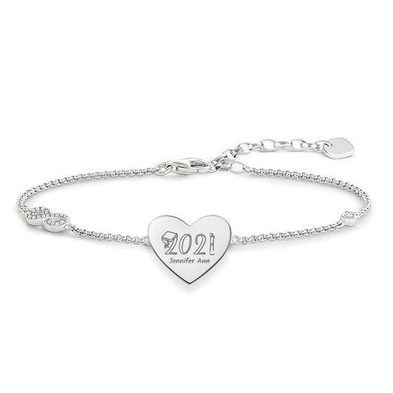 Silver Graduation 2021 with Name Love Bridge Bracelet