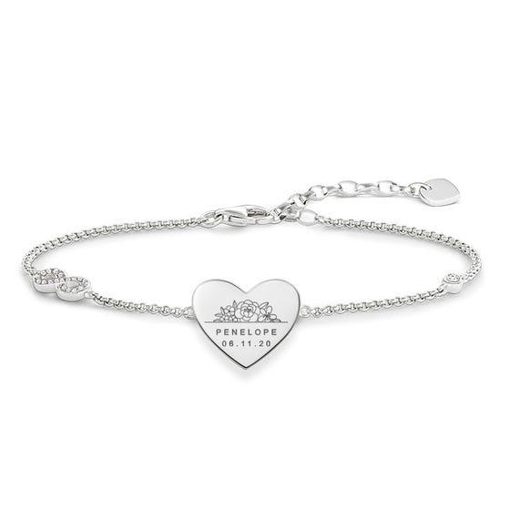 Silver Floral Name & Date Love Bridge Bracelet