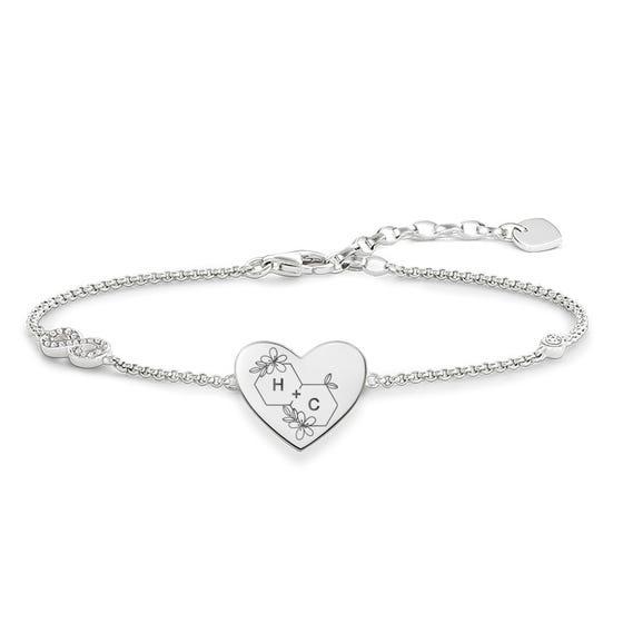 Silver Honeycomb Initials Love Bridge Bracelet