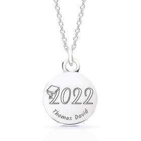 Silver Graduation 2021 with Name Disc Necklace