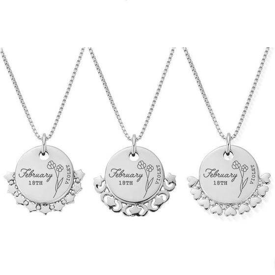 Silver February Birth Flower & Date Disc Box Chain Necklace