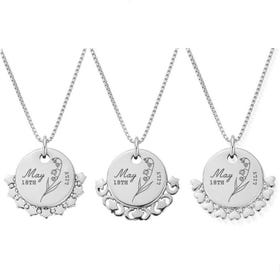 Silver May Birth Flower & Date Disc Box Chain Necklace