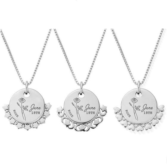 Silver June Birth Flower & Date Disc Box Chain Necklace