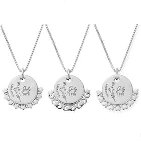 Silver July Birth Flower & Date Disc Box Chain Necklace