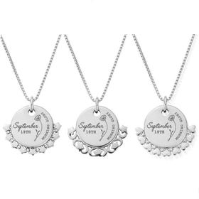 Silver September Birth Flower & Date Disc Box Chain Necklace