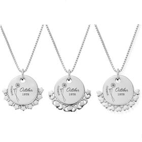Silver October Birth Flower & Date Disc Box Chain Necklace