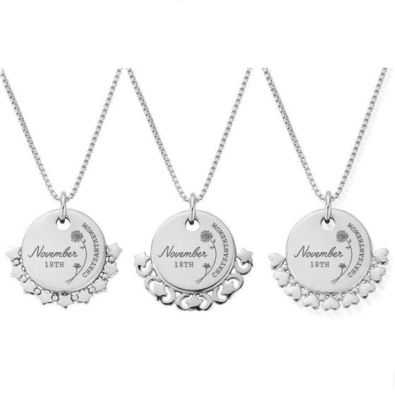 Silver November Birth Flower & Date Disc Box Chain Necklace