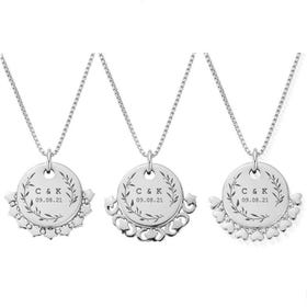 Silver Leaf Initials & Date Disc Box Chain Necklace