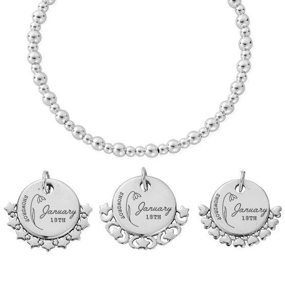 Silver January Birth Flower & Date Didi Bracelet