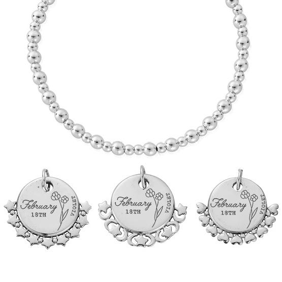 Silver February Birth Flower & Date Didi Bracelet
