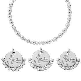 Silver June Birth Flower & Date Didi Bracelet