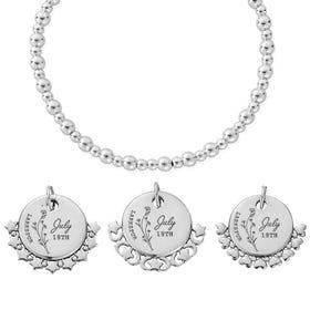 Silver July Birth Flower & Date Didi Bracelet