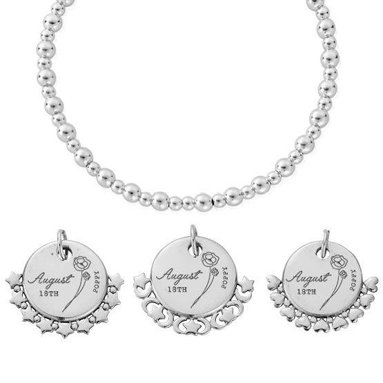 Silver August Birth Flower & Date Didi Bracelet