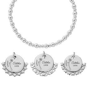 Silver October Birth Flower & Date Didi Bracelet