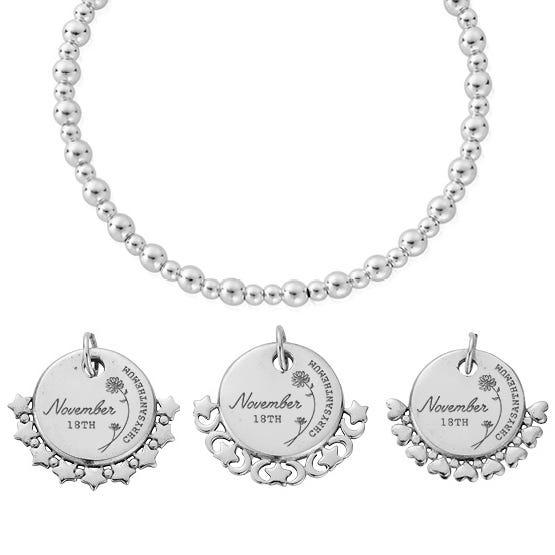 Silver November Birth Flower & Date Didi Bracelet