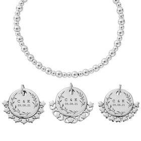 Silver Leaf Initials & Date Didi Bracelet