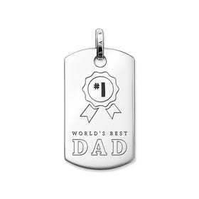Rebel at Heart Silver World's Best Dad Dog Tag Pendant
