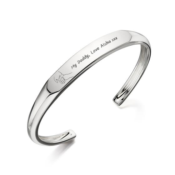 Silver My Daddy Hand Flat Top Open Bangle