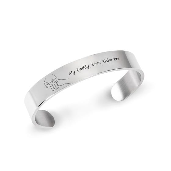Stainless Steel My Daddy Hand Open Cuff Bangle