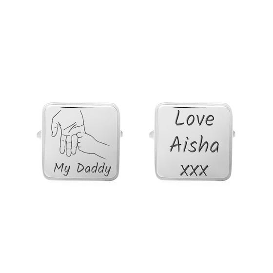 Stainless Steel My Daddy Hand Large Square Cufflinks