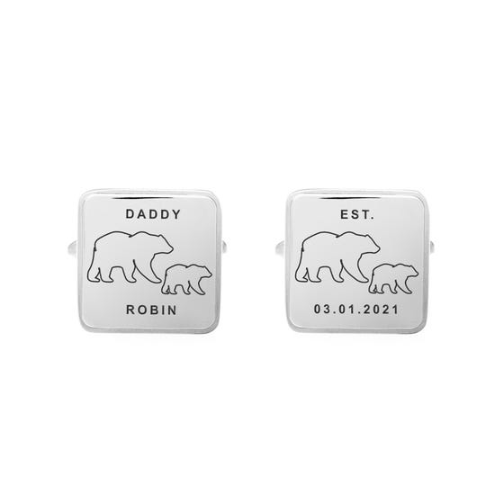 Stainless Steel Daddy Bear Large Square Cufflinks