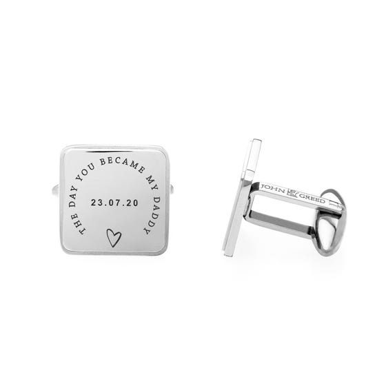 Stainless Steel 'The Day You Became My Daddy' Large Square Cufflinks