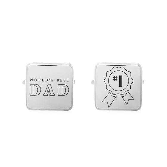 Stainless Steel World's Best Dad Large Square Cufflinks
