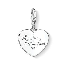 Charm Club Silver Heart Handwriting Charm