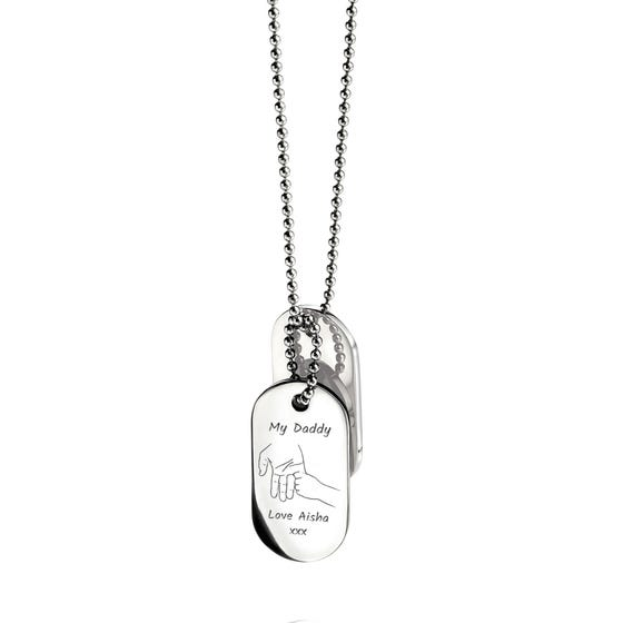 Stainless Steel My Daddy Hand Oval Dog Tag Pendant