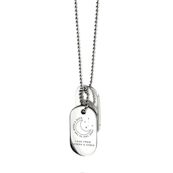 Stainless Steel 'Love You To The Moon & Back' Oval Dog Tag Pendant