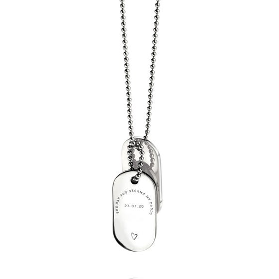 Stainless Steel 'The Day You Became My Daddy' Oval Dog Tag Pendant