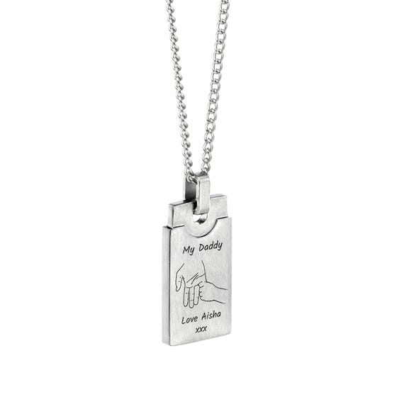 Stainless Steel My Daddy Hand Brushed Rectangle Necklace
