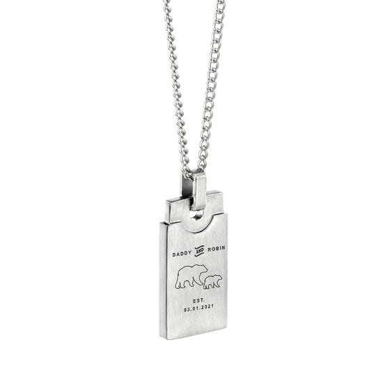 Stainless Steel Daddy Bear Brushed Rectangle Necklace