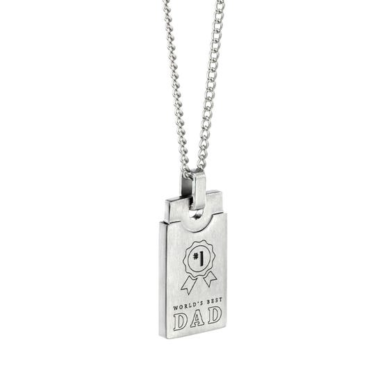 Stainless Steel World's Best Dad Brushed Rectangle Necklace