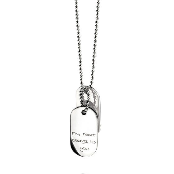 Stainless Steel Oval Dog Tag Handwriting Necklace
