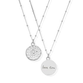 Silver Moon Flower Handwriting Necklace