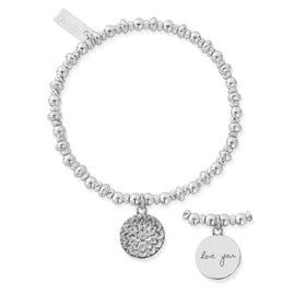 Silver Didi Sparkle Moon Flower Handwriting Bracelet
