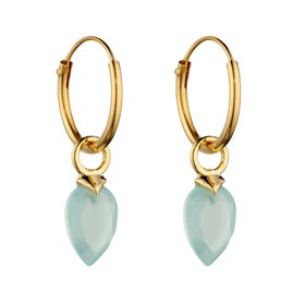 Gold Plated Silver March Birthstone Chalcedony Hoop Earrings