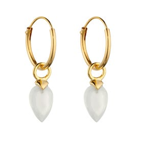 Gold Plated Silver April Birthstone Chalcedony Hoop Earrings