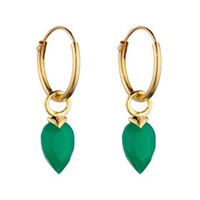 Gold Plated Silver May Birthstone Chalcedony Hoop Earrings