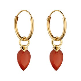 Gold Plated Silver July Birthstone Chalcedony Hoop Earrings