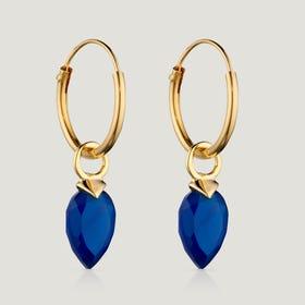Gold Plated Silver September Birthstone Chalcedony Hoop Earrings