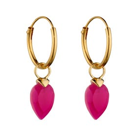 Gold Plated Silver October Birthstone Chalcedony Hoop Earrings