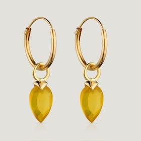 Gold Plated Silver November Birthstone Chalcedony Hoop Earrings
