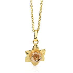 Gold Plated Silver March Birth Flower Daffodil Necklace