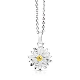 Silver April Birth Flower Daisy Necklace