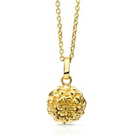 Gold Plated Silver October Birth Flower Marigold Necklace
