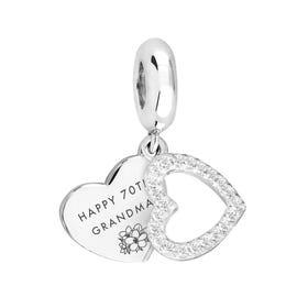 Silver Happy 70th Grandma CZ Heart Pendant Charm