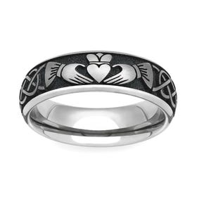 Titanium Celtic Claddagh Engraved 6mm Ring