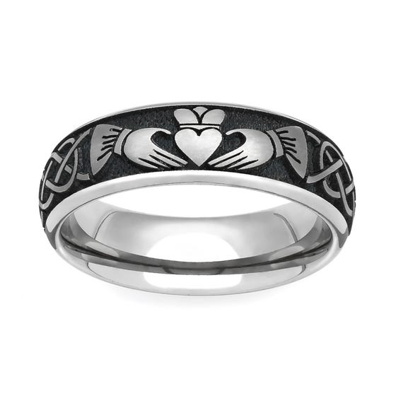 Titanium Celtic Claddagh Engraved 6mm Ring